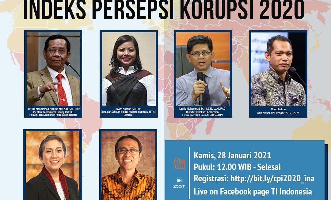 Indeks Persepsi Korupsi Indonesia 2020 Turun, Penyalahgunaan Kekuasaan Jadi Penyebabnya.
